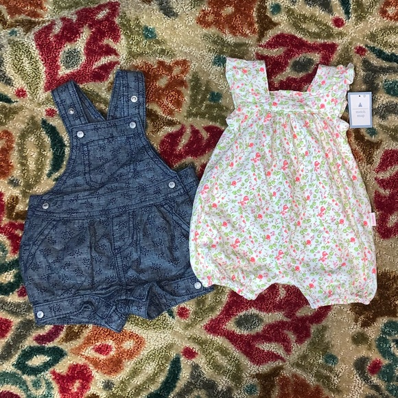 NWT Baby Gap Girls Size 3-6 Months Blue Striped Embroidered Bubble Romper